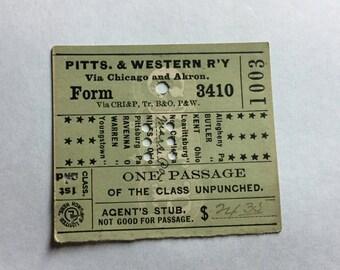Pittsburgh & Western Railway Passenger Ticket 1896