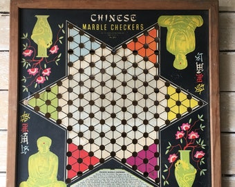 Vintage Retro Chinese Checker Board 1939 Rare Made In The USA