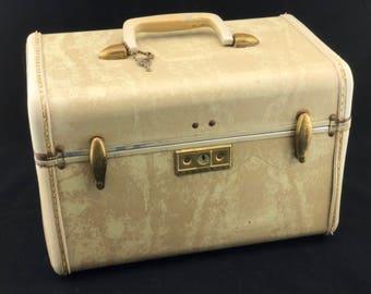 Samsonite Train Case White Marbleized Ivory Case