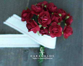 Miniature Red Millinery Paper Roses