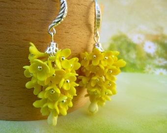Flowers earrings Yellow earrings Cluster Earrings Floral earrings Cute earrings Womens earrings Summer earrings Unusual jewelery