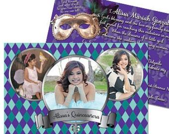 Quinceanera Mardi Gras Invitation Sweet 15 Mardi Gras Invitation Quinceanera Sweet 15 Invitation