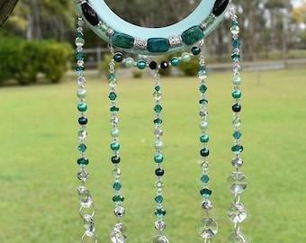 Mint Horseshoe Crystal & Gemstone Suncatcher -Horseshoe Art-Horse shoe