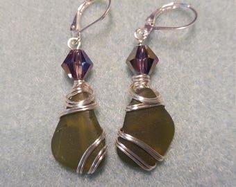 Olive colored Sea Glass Earrings