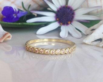 20% off- SALE!! Citrine Ring - November Birthstone - Slim Stack Ring - Tiny Ring - Gold Ring - Dainty Ring - Simple Ring - Bezel Ring