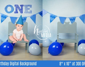 Baby, Toddler, Child, One Year Birthday Photography Digital Backdrop Background Prop with Party Balloons for Photographers - Digital JPG