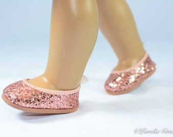 Ballerina flats SHOES for American Girl or 18 inch doll in ROSE GOLD Rhinestone Look Sparkle