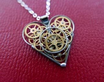 "Watch Parts Heart Pendant ""Van Wieren["" Steampunk Necklace Industrial Clockwork Mechanical Gear Love Gift Wife Girlfriend Birthday Gift"