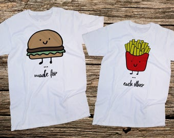 Made for Each Other,burger and potatomatching,Couples T-Shirts SET, Couples Shirts, Gift For him, Gift For her, Gift for Couples,UNISEX