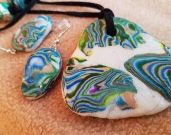 Aqua Waves Pendant and Earings