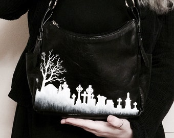 OOAK Graveyard Silhouette Leather Purse with Edgar Allan Poe Quote