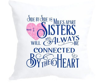 Personalized Sisters Connected by the Heart Pillow Case | Sisters Gift | Heart Strings