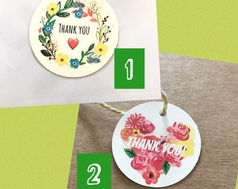 30 Flower Thank you tags