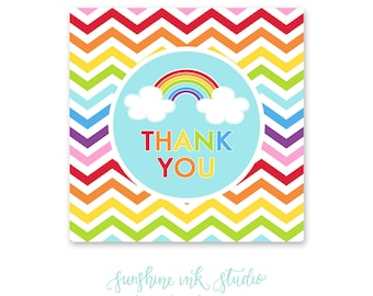 Rainbow Birthday Party Printable Thank You Favor Tags INSTANT DOWNLOAD