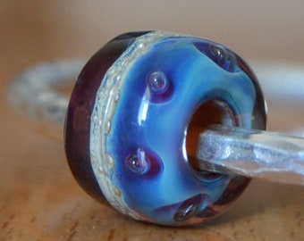 REDUCED - Unique Handmade Lampwork Glass European Charm Bead with Pure Silver - SRA - Fits all charm bracelets - Silver Core Options