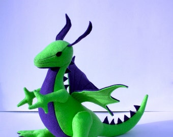 Lime Berry Dragon Fantasy Plush ~ Stuffed Animal Toy, Handcrafted Eco Friendly, Kids Gift, Boys, Green, Purple, Monsters, Toy Dragon Plushie