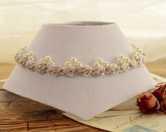 Ivory pearl choker , Ivory bridal necklace , Victorian pearl necklace , Edwardian jewelry , Retro lace choker , Regency necklace , Baroque