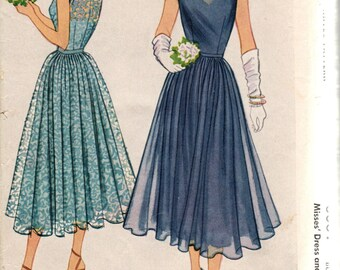Bust 30-1950 Misses' Evening Dress and Slip McCall 8081 Size 12