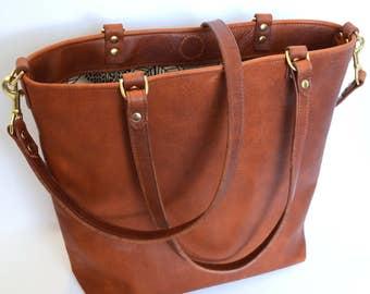 Leather Tote Bag, Custom Leather Tote, Cross Body Bag, Diaper Bag