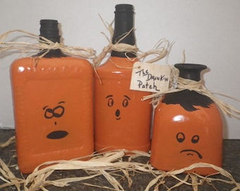 """Upcycled Bottles """"The Drunkin Bunch""""~ Halloween Decor"""