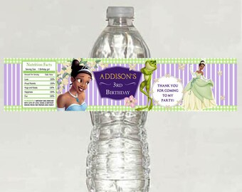 personalized printed The Princess and the Frog Birthday water bottle label