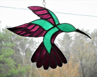 Stained Glass Hummingbird Suncatcher - Handcrafted in Tennessee