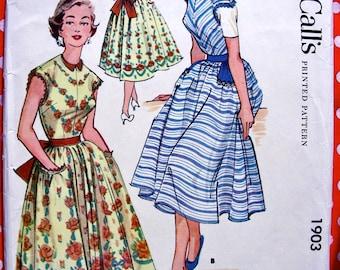UNCUT * 1950s McCall Pattern 1903 - FABULOUS Misses' Pinafore Apron Dress   *  Factory Folded * Bust 34