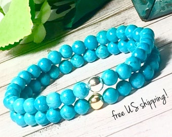 Turquoise Beaded Bracelets Set, Beaded Bracelets Stack, Beaded Bracelets, Stack, Stone Bracelets Set, for Women, 6mm, DreamCuff Jewelry