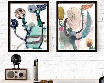 Rabatt auf dieses Set aus 2 botanische Kunst Druck. Aquarell Giclée Kunstdruck von original Aquarell-Gemälde. Sparen Sie Geld auf Druck 2er set