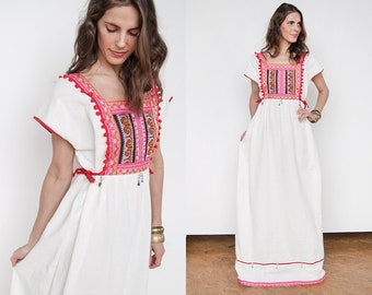 Vintage | Ethnic | Heavily Embellished | Peasant | Boho | Cotton | Maxi | Dress | L/XL