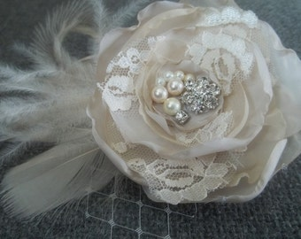 Wedding Fascinator, Bridal Hair Comb, Floral Hair Comb, Bridal Fascinator, Bridal Gift, Bridesmaids Comb, Kathy Johnson, Custom, Pearls