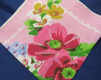 Vintage Hanky Red Poppies and Blue Forget Me Nots Hand Rolled Edge Vintage Linen Hankie Handerchief