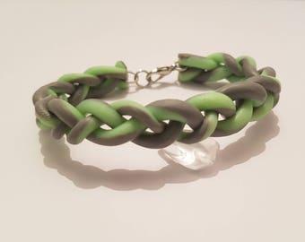 Polymer clay green bangle