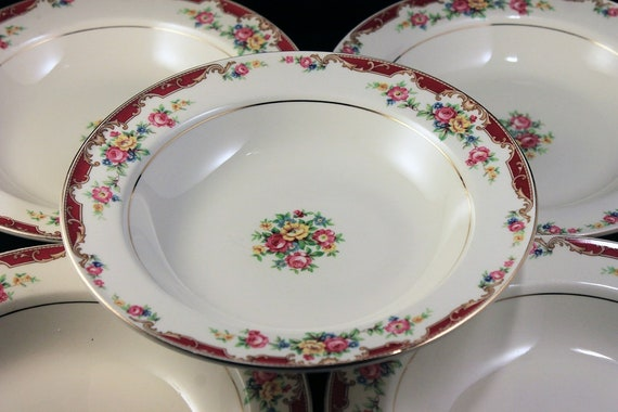 Rimmed Soup Bowls, Edwin Knowles, Lido, Set of 5, Pink Rose Floral, Fine China