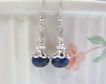 Cobalt Blue Beaded Earrings, Silvertone Dangle Drops, Affordable Quality Jewelry, Hawaiibeads