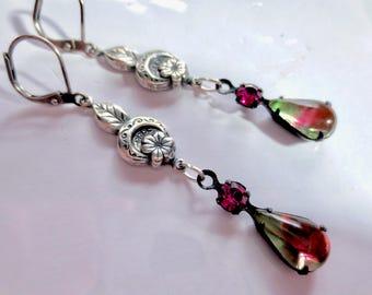 Art Deco earrings Edwardian earrings vintage style 1920s Art Nouveau earrings crystal long silver earrings