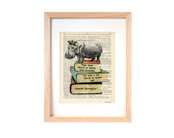 Hippo on books dictionary print-Funny hippo print-Hippo print-Hippo on book page-Upcycled Dictionary art- hippo decor-by NATURA PICTA-DP129