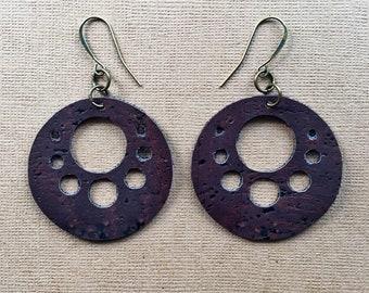 Cork Dangle Earrings / Joanna Gaines Inspired Jewelry / Minimalist Earrings - Vegan Earrings - Boho Chic Earrings
