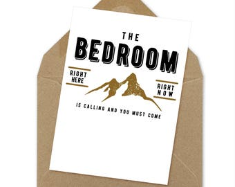 the bedroom is calling you must come valentine printable | A6