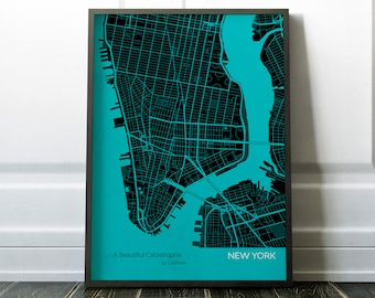 Personalised New York City Street Map Print - gift, quote, wall decor, map, gift for him, gift for her, free shipping, city print, quote map