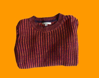 Vintage 90s Scarlet, Yellow, and Purple Cable Knit Sweater (Women's Medium)
