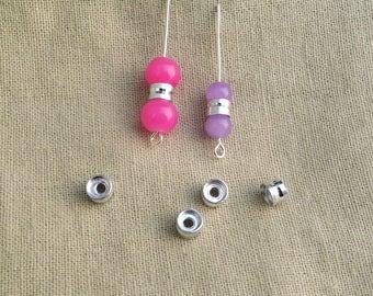 60 tube or column aluminum spacer beads 6 x 4 mm