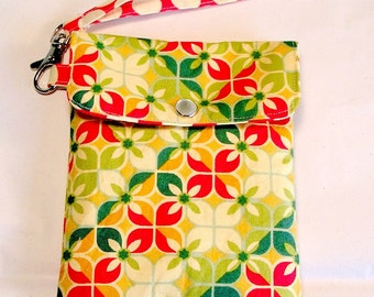 Cell phone holder / wristlet purse / camera / ipod /blackberry/ wallet Floral Geomeric and dots - Ready to Ship