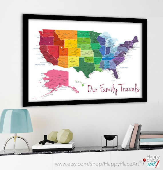 Bright rainbow color united states map us map canvas family bright rainbow color united states map us map canvas family travel push pin map pushpin travel map personalise usa map usa map cities gumiabroncs Image collections