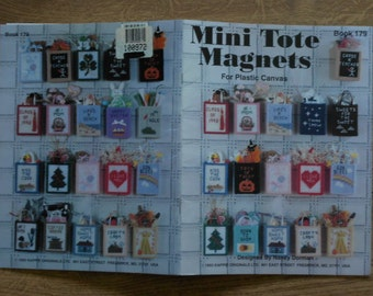 vintage 1994 plastic canvas pattern Mini Tote Magnets