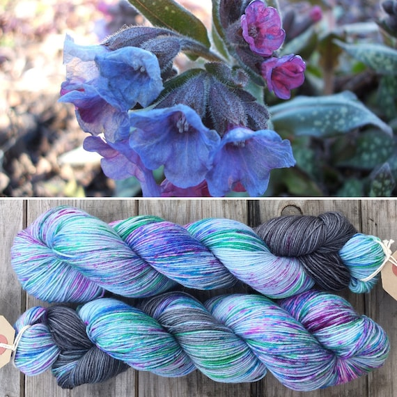Lungwort, speckle dyed blue pink grey green 75/25 merino nylon sock indie yarn
