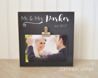 Personalized Wedding Gift For the Bride and Groom, Wedding Decoration Idea  {Mr & Mrs}  Photo Frame, Bridal Shower Gift, Personalized Frame