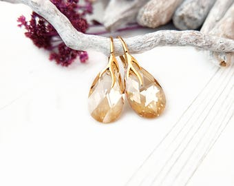 Champagne bridal crystal earrings Rose Gold Swarovski crystal earring Teardrop dangle bridesmaid earring bridesmaid gift Champagne stone 5