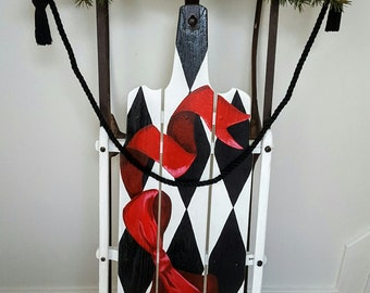 vintage sled, hand painted Red Ribbon Harlequin pattern