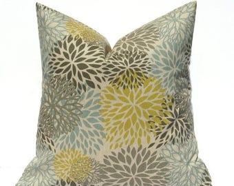 15% Off Sale Throw pillow cover, Gray Yellow Pillow, Gray pillow , yellow pillow,  Grey pillow Cover, Decorative pillow, floral pillow,  blu